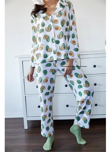 XHAN Beyaz & Yeşil Avokado Desenli Pijama Takımı 1Kxk8-44700-78 Beyaz